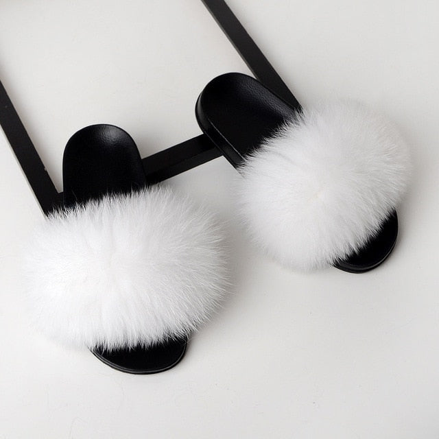 Trendy Fur Slippers Women Fluffy Slippers Super Stylish pompoms