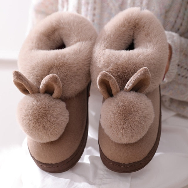 Cotton Slippers Rabbit Ear Home Indoor Slippers Winter Warm Shoes Womens Cute Plus Plush Slippers