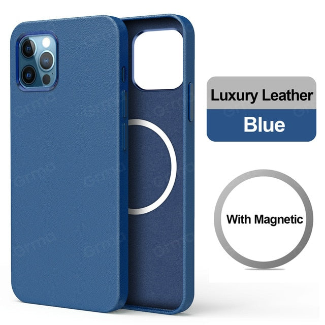 Original Magnetic Safe Genuine Leather Black Cover for Apple iPhone 12 Pro Max 12 mini Accessories Case