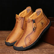 Men Hand Stitching Round Toe Microfiber Leather Ankle Boots