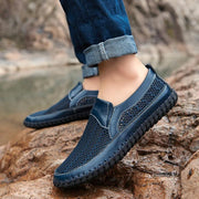 Men Hand-stitched Breathable Mesh Leather Shoes