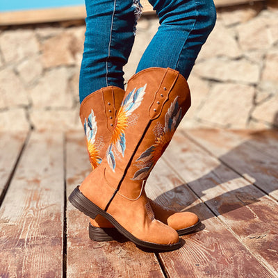 Women Retro Floral National Style Western Cowboy Mid-calf Boots