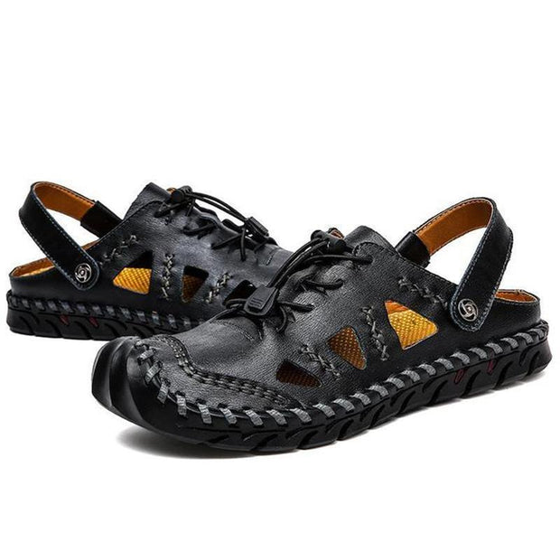 Men's Leather Sandals Summer Breathable Beath Shoes