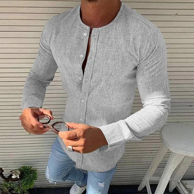 Men's Solid Color Round Neck Linen Shirt