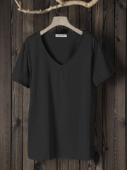 Women Short Sleeve Cotton Solid Tops