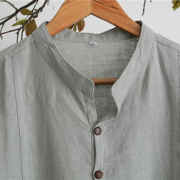 Men's Casual Loose Plain Button T-shirt