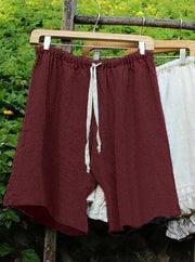 Women's Cotton Linen Solid Shorts Pants