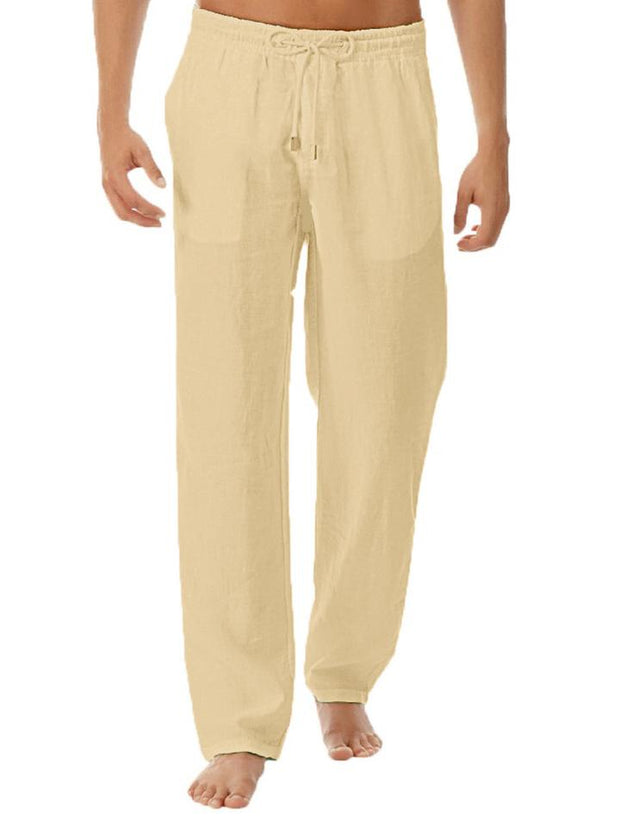 Men's Solid Color Cotton Trousers