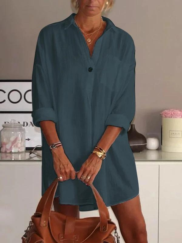 Women's V Neck Long Sleeve Cotton Plus Size Causal Dresses