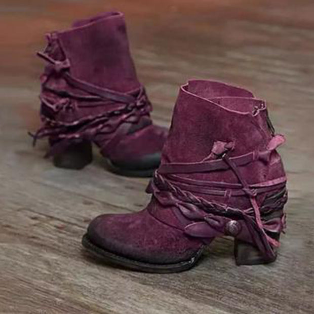 Women's Retro Fashion Round Toe Back Zipper Comfortable Short Boots