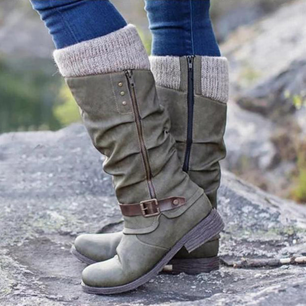 Women's Trendy Vintage Leather Patchwork Chunky Calf Boots