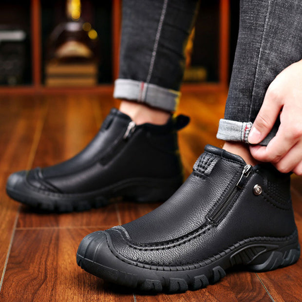 Men Zipper Warm Velvet Boots