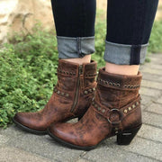 Women Retro Rivet Short Western Boots