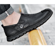 Men Hand Stitching Cowhide Leather Breathable Business Casual Shoes