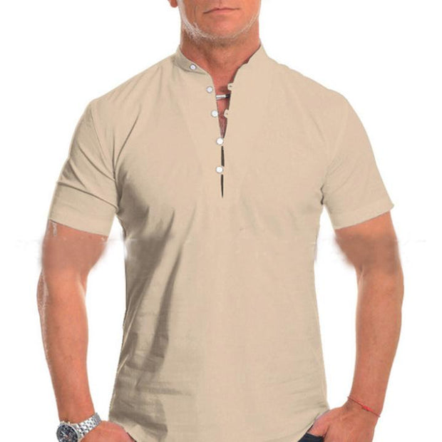 Men's Summer Stand-up Collar Solid Color Button Loose Shirt