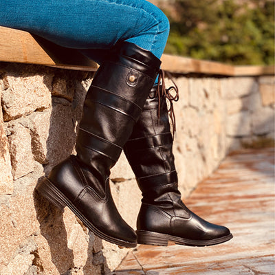 Women's Lace-up Chain High Top Casual Boots