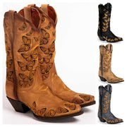 Women'S Butterfly Embroidery Boots Western Boots