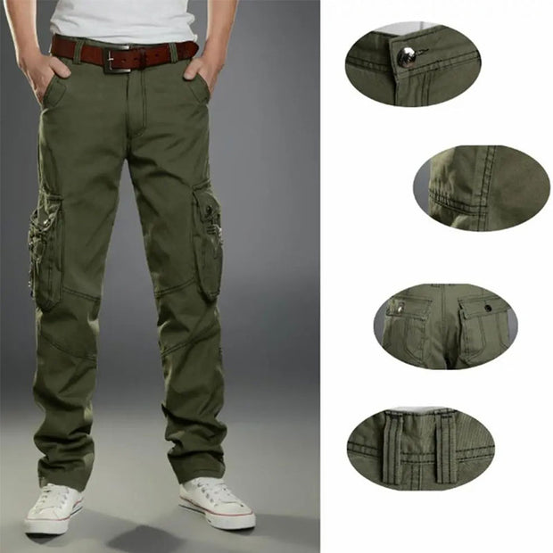 Mens Outdoors Military Solid Color Casual Multi Pocket Trousers