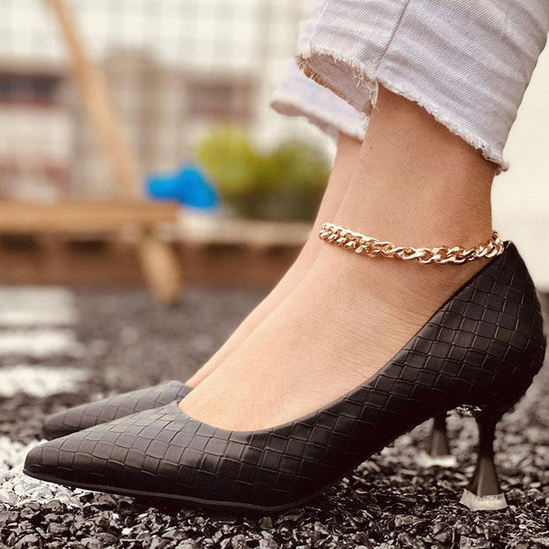 Black Diamond Pattern High Heels