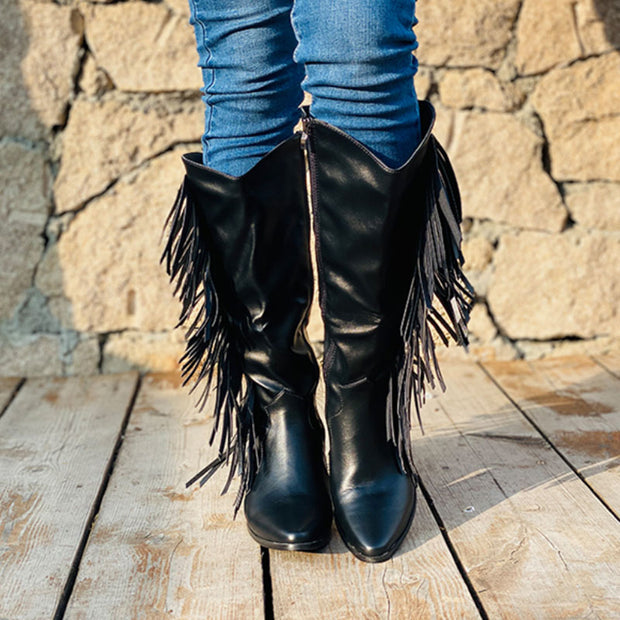 Women Fashion Heels Solid Color Tassels Mid-calf Boots