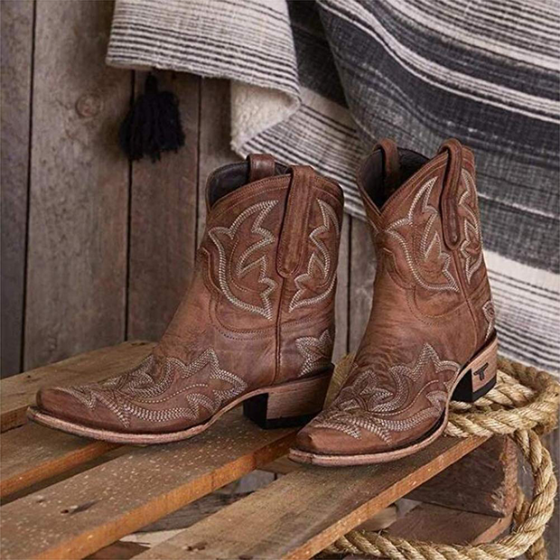 Women Fashion Shoes Cowboy Western Heels Boots