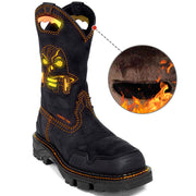 Women's Winter Style Fur Lining Ghosts Skull Western Boots