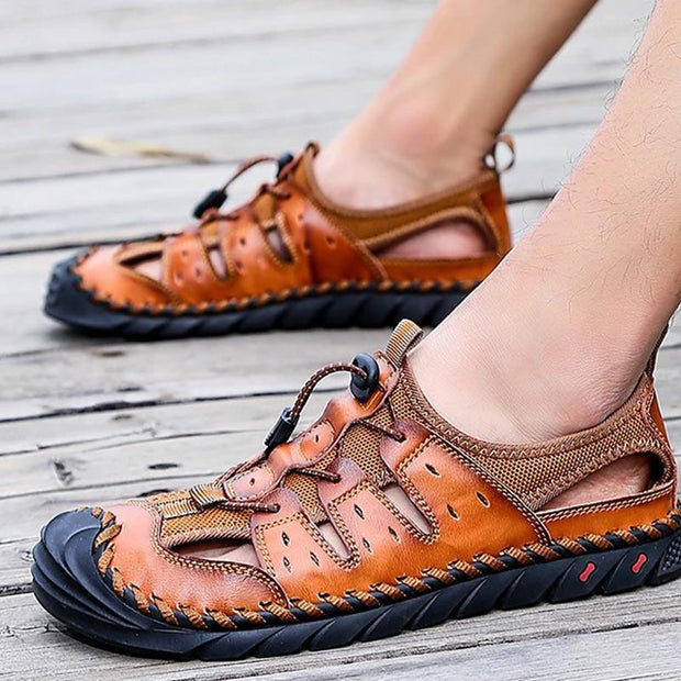 Men's Comfort Shoes Sandals Walking Shoes Nappa Leather Breathable