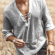 Men's Casual Plain V-Neck Elastic Shirt