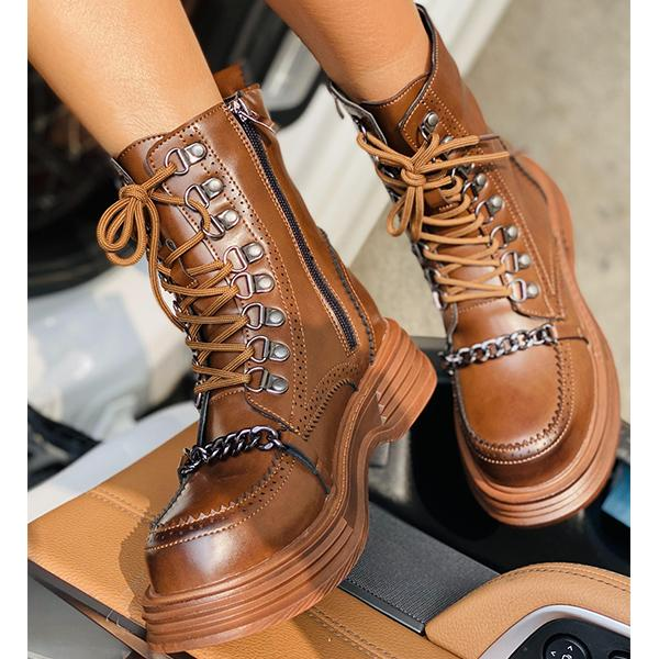 Ladies Metal Chain Martin Boots