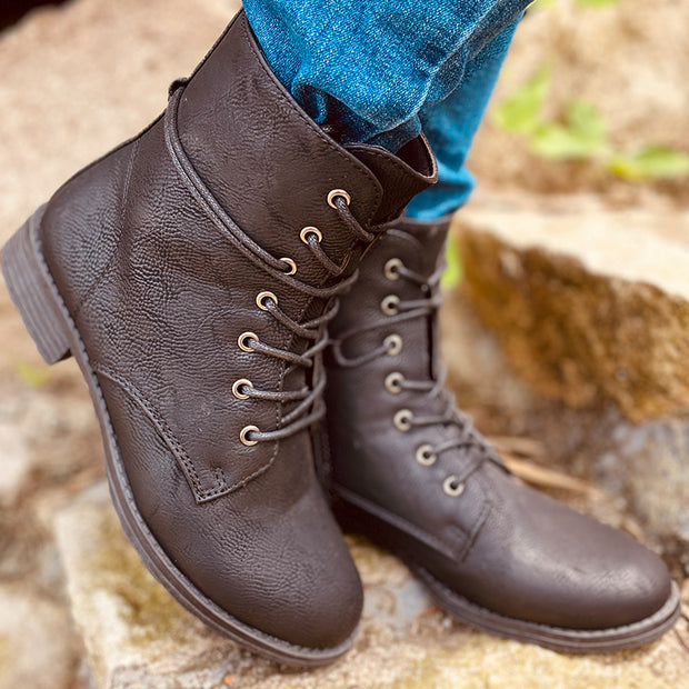 Women's Casual Non-slip Wear-resistant Lace-up Martin Boots
