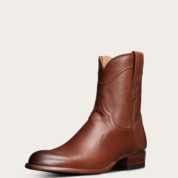 Men Leather Side Zipper Cowboy Boots