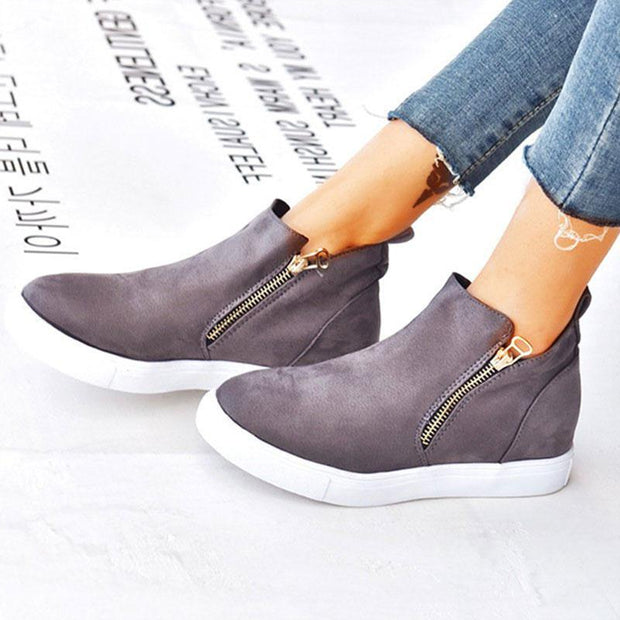 Women's Casual Double Side Zipper Flat Suede Sneakers
