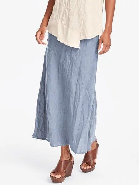 Women's Cotton Maxi Skirt Casual Plain Skirts