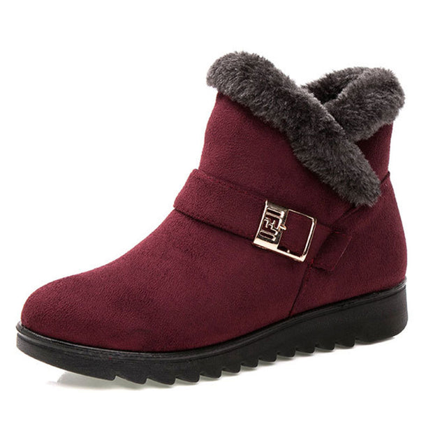 Women Winter Warm Cotton Buckle Zipper Snow Boots