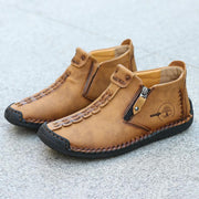 Men Hand Stitching Leather Non Slip Side Zipper Casual Boots( FREE GIFT-Leather Wallet )