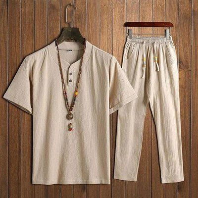 Men's Cotton Linen Sets Short-sleeved T-shirt + Trousers