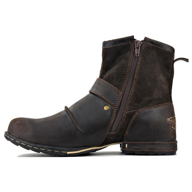 Men's Genuine Leather Zipper-up Ankle Boots(FREE GIFT-Wallet)