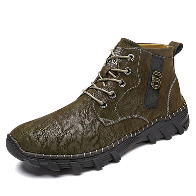 Men Outdoor Hand Stitching Slip Resistant Leather Ankle Boots