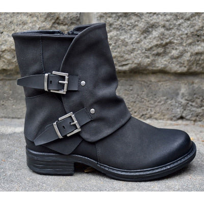 Women Buckle Side Zipper Solid Color Boots
