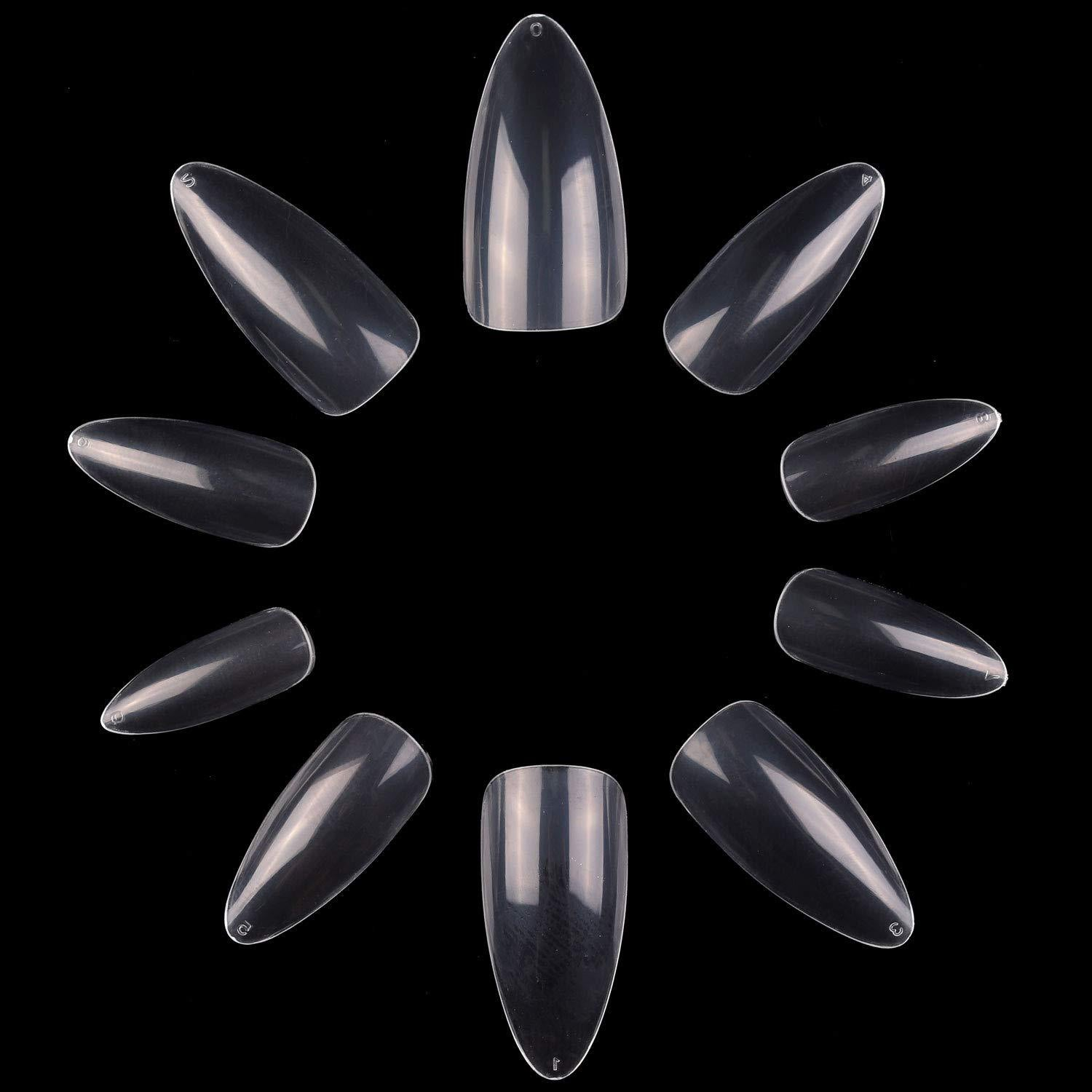 Pack of 500 Pieces Short Stiletto Nail Tips