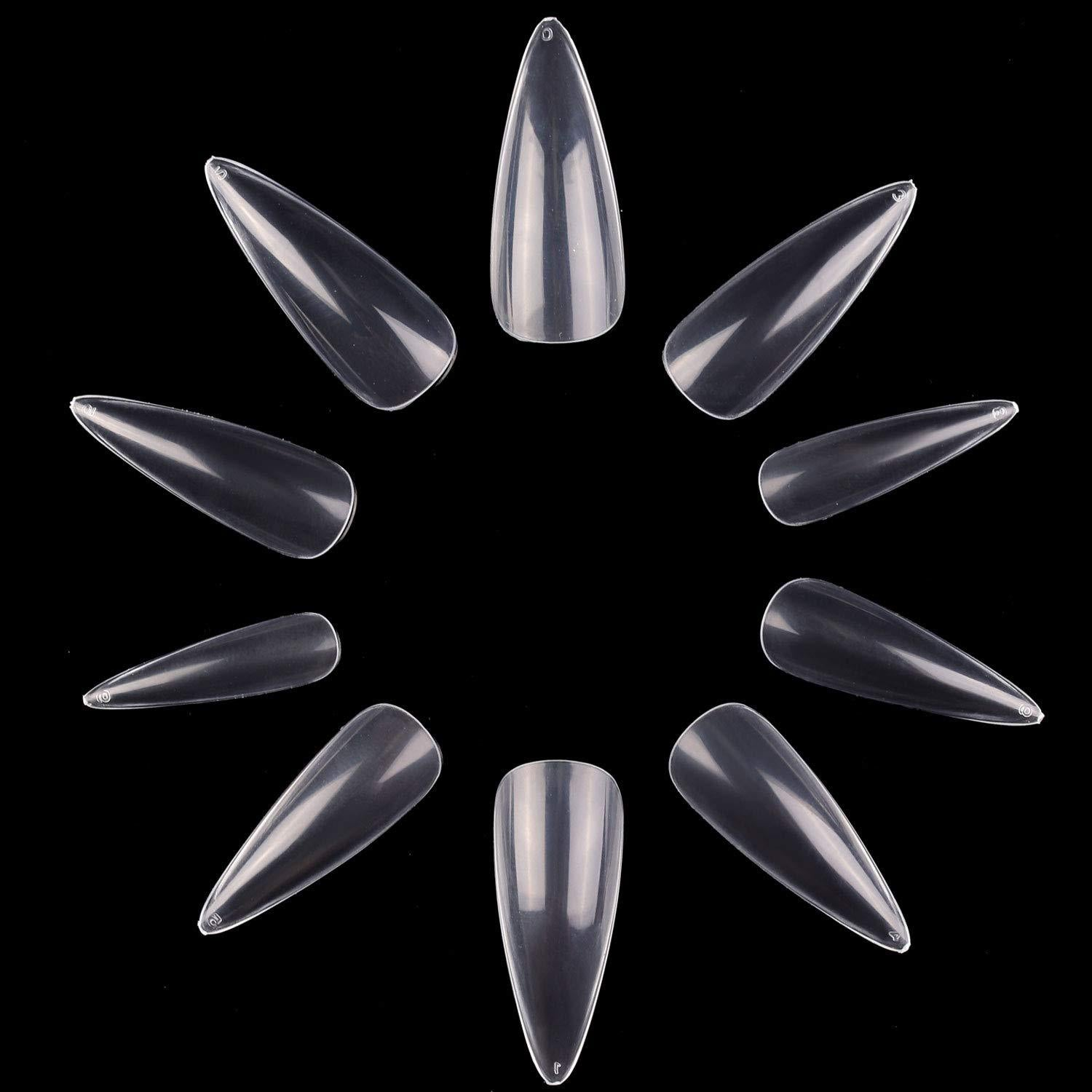 Pack of 500 Pieces Long Stiletto Nail Tips