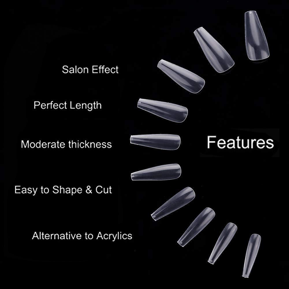 500pcs Coffin Nails Tips Clear Full Cover 10 Sizes