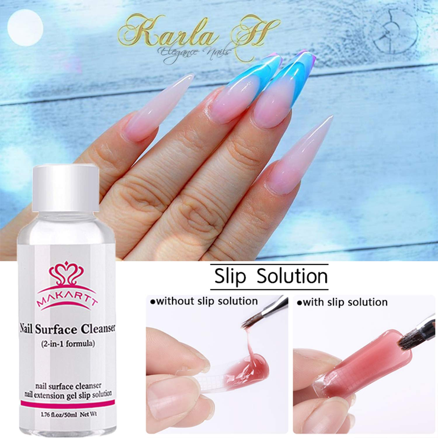 2-in-1 Formula Nail Surface Cleansing and Slip Solution for Polygel Extension