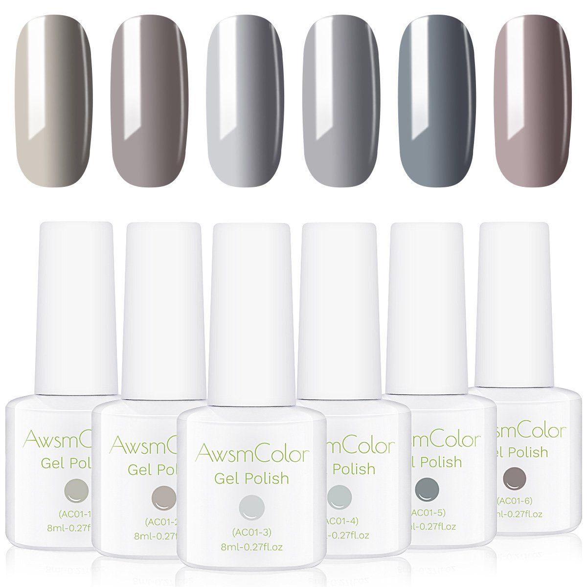 Popular Nude Grays Gel Nail Polish Set