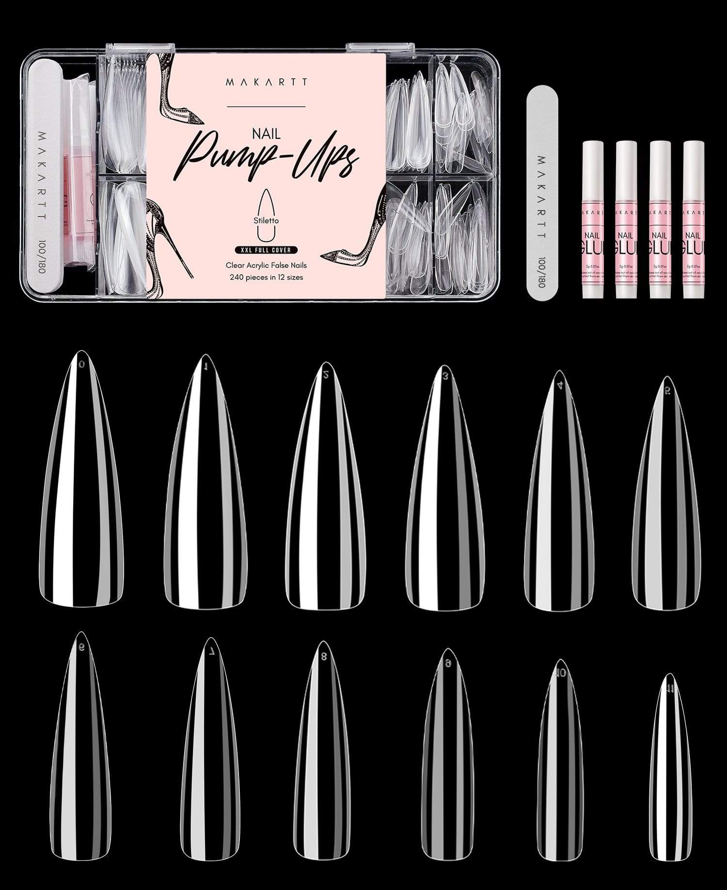 XXL Stiletto Full Cover Nail Tips Kit