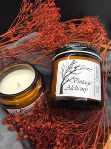 soy candle with fall background