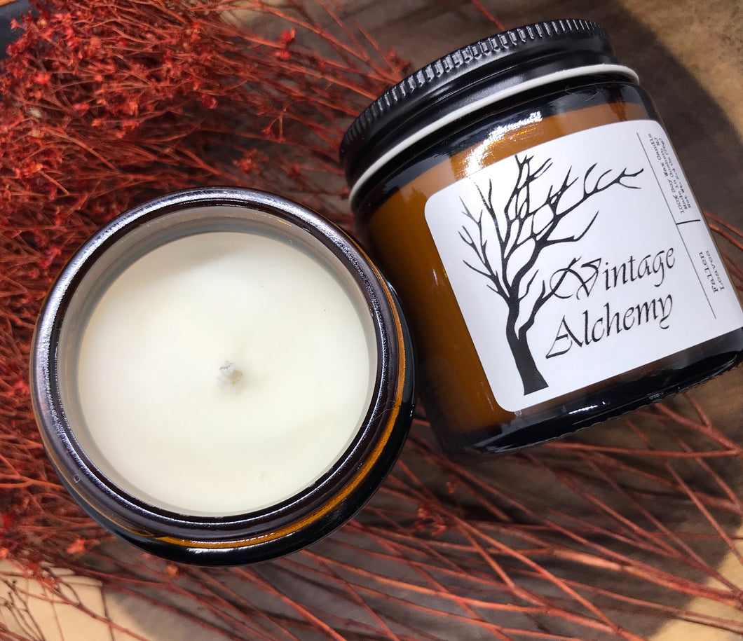 fallen leaves soy candle