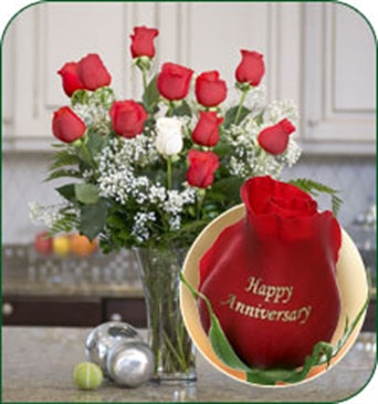 myeasyflowers-Roseae-ROSAS-ROSES_WHITE -12 ROSES - HAPPY ANNIVERSARY (11 RED, 1 WHITE)