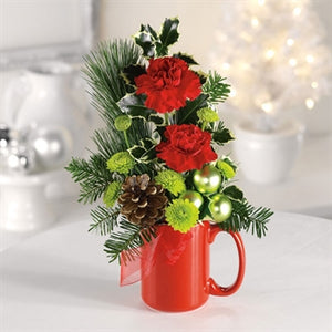 myeasyflowers-Dianthus caryophyllus-CLAVEL-CARNATION_RED-PINE-XMAS-HOLIDAYS-RIBBON.