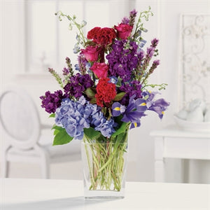 celosia, liatris, irises, hydrangea myeasyflowers-Roseae-ROSAS-ROSES_HOT PINK-Dianthus caryophyllus-CLAVEL-CARNATION_RED